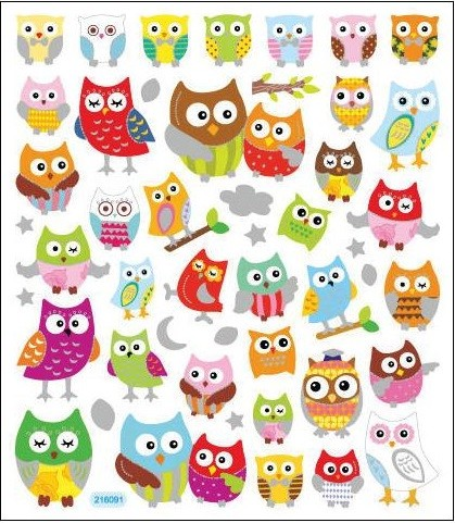 Wide Eyed Owls Stickers