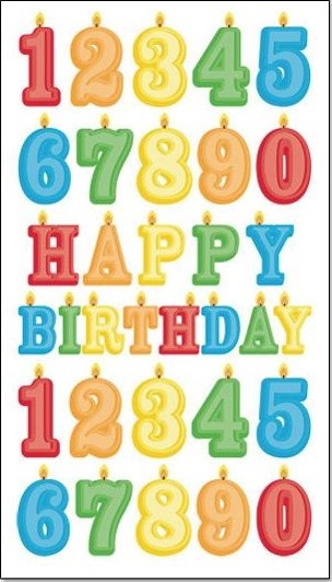 Birthday Number Candles Glitter Stickers