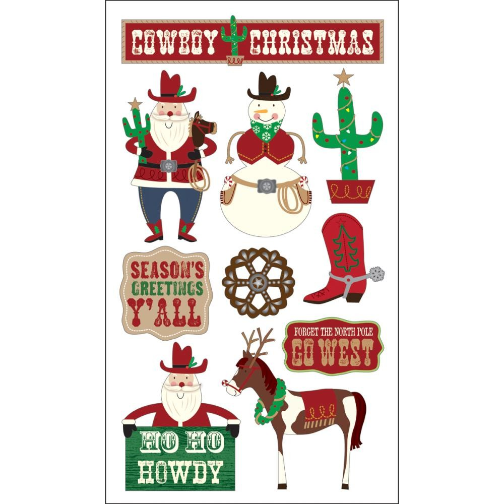 Glitter Cowboy Christmas Stickers