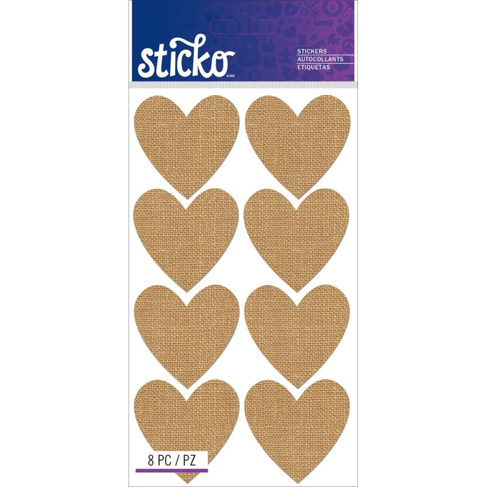 Burlap Hearts Stickers