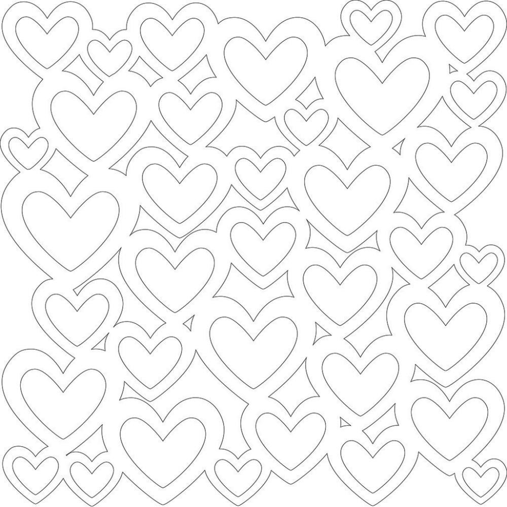 Papel estampado Una cara 12x12-Basics-Hearts