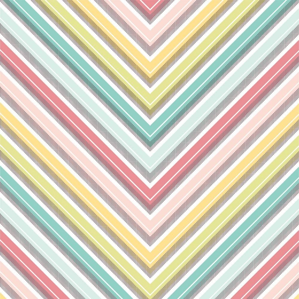 Papel estampado Una cara 12x12-Basics-Large Chevron/Color Foil