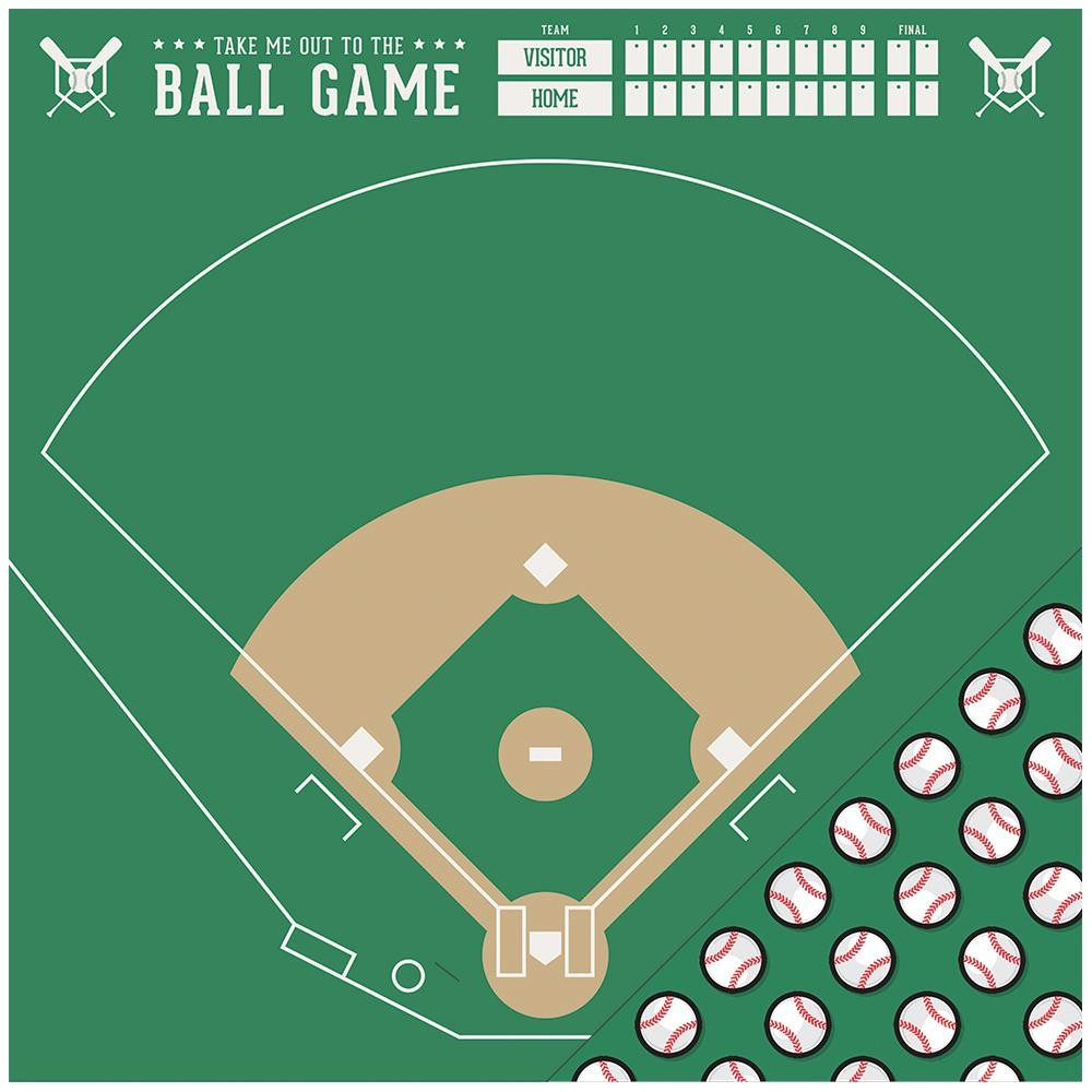 Papel estampado Doble cara 12x12-Basics-Baseball Field