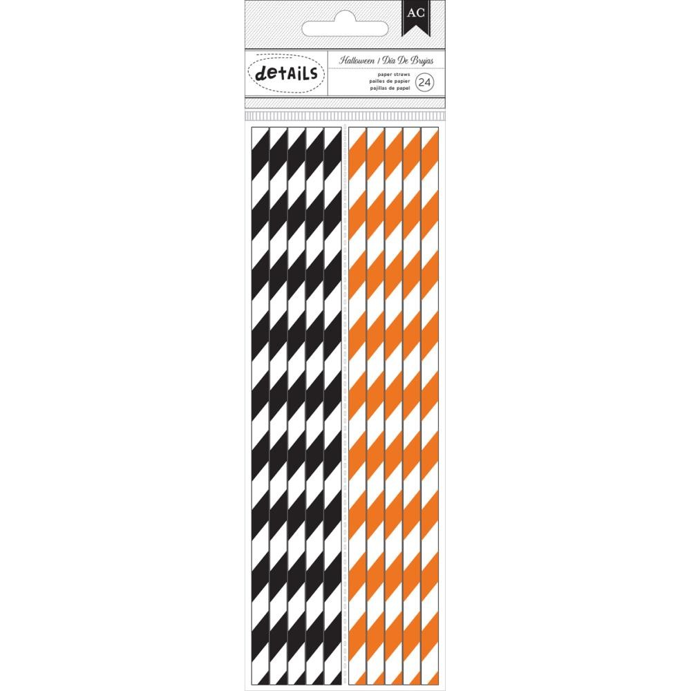 Wide Black Stripe & Wide Orange Stripe Paper Straws Halloween 2015