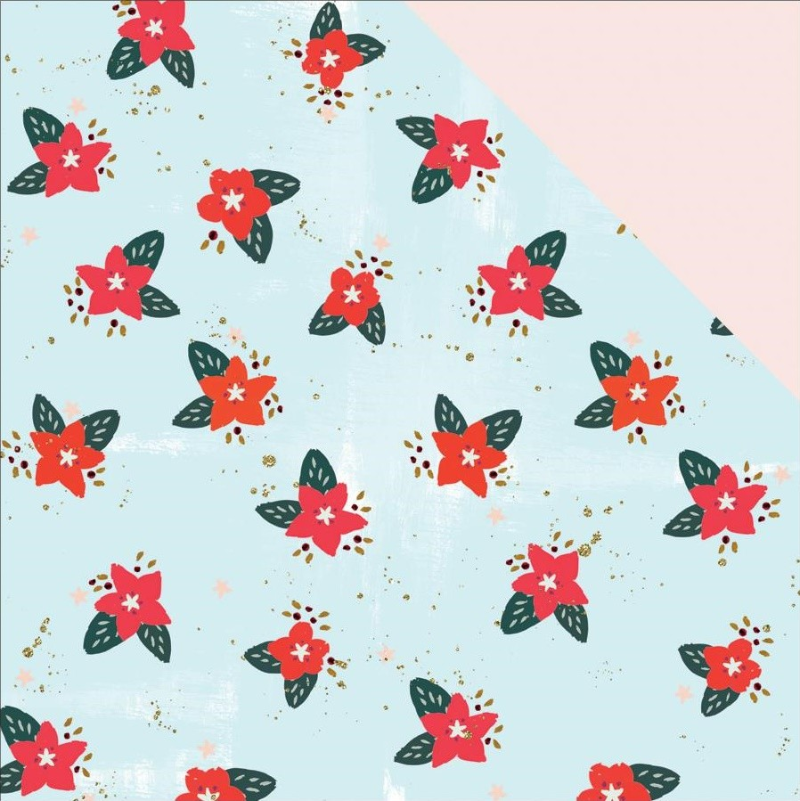 Papel estampado Doble cara 12x12 Wish Season Poinsettia