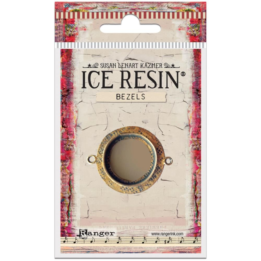 Antique Bronze Medium Circle Bezels Ice Resin
