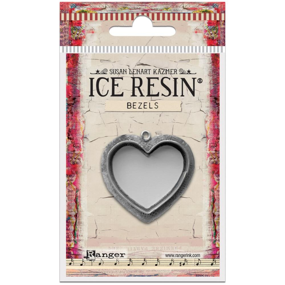 Antique Silver Large Heart Bezels Ice Resin