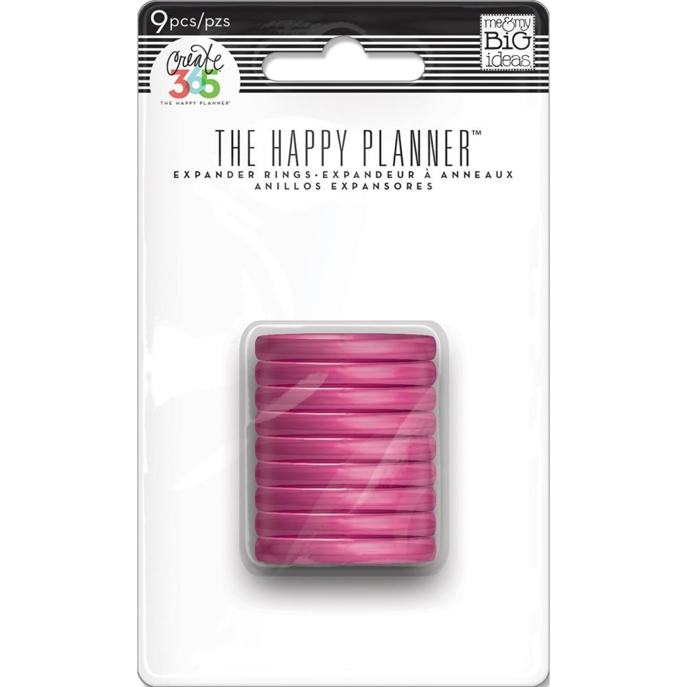 Anillas Happy Planner Medianas Clear Hot Pink