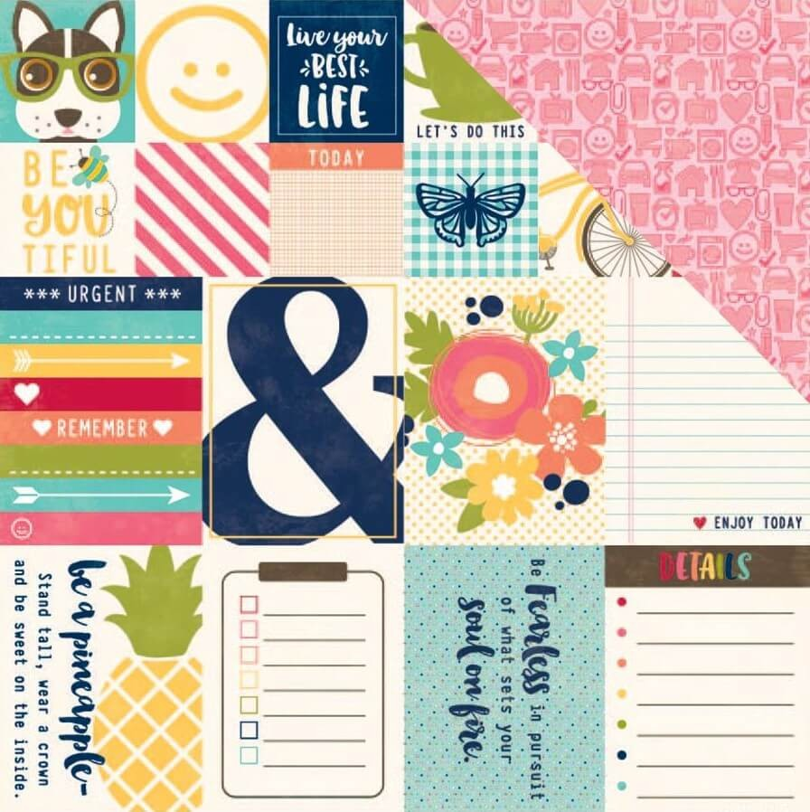 Papel Estampado Doble Cara 12x12   Chit Chat Chowder   Bite Size