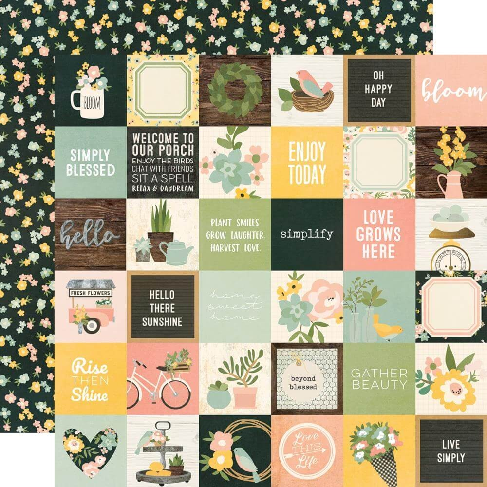 "Papel Estampado Doble Cara 12x12 Spring Farmhouse 2""x2"" Elements"