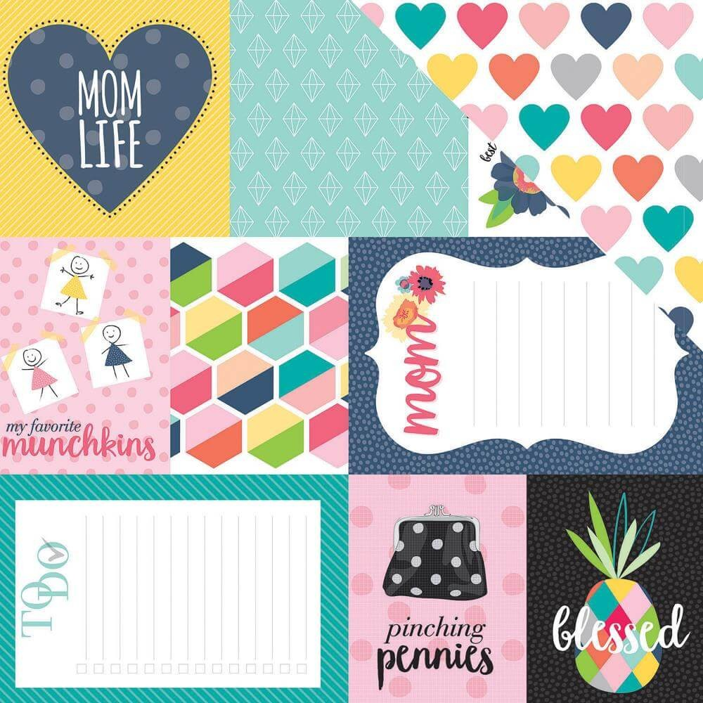 Papel Estampado Doble Cara 12x12 Mom Life Daily Details