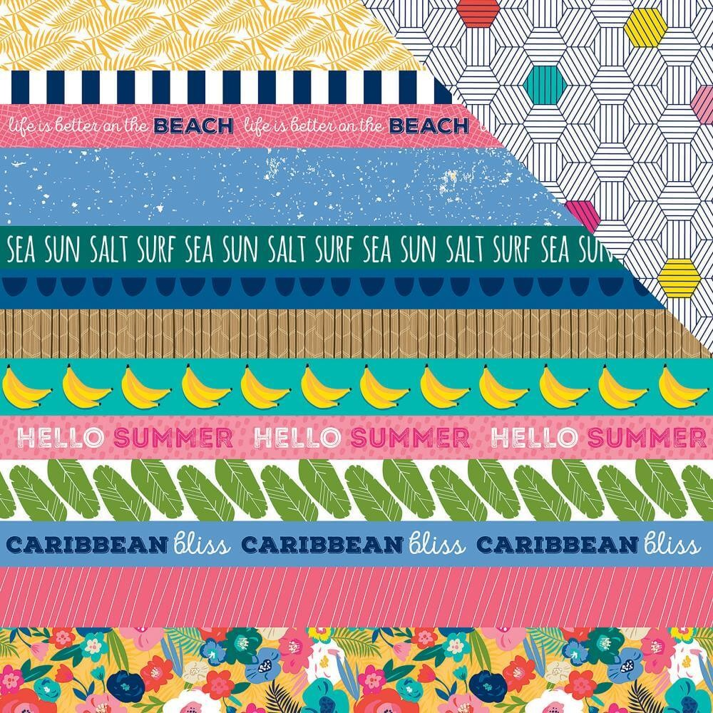 Papel Estampado Doble Cara 12x12 Island Escape Borders