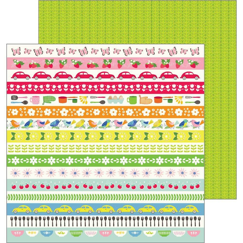 Papel Estampado Doble Cara 12x12 My Bright Life Retro Stripes