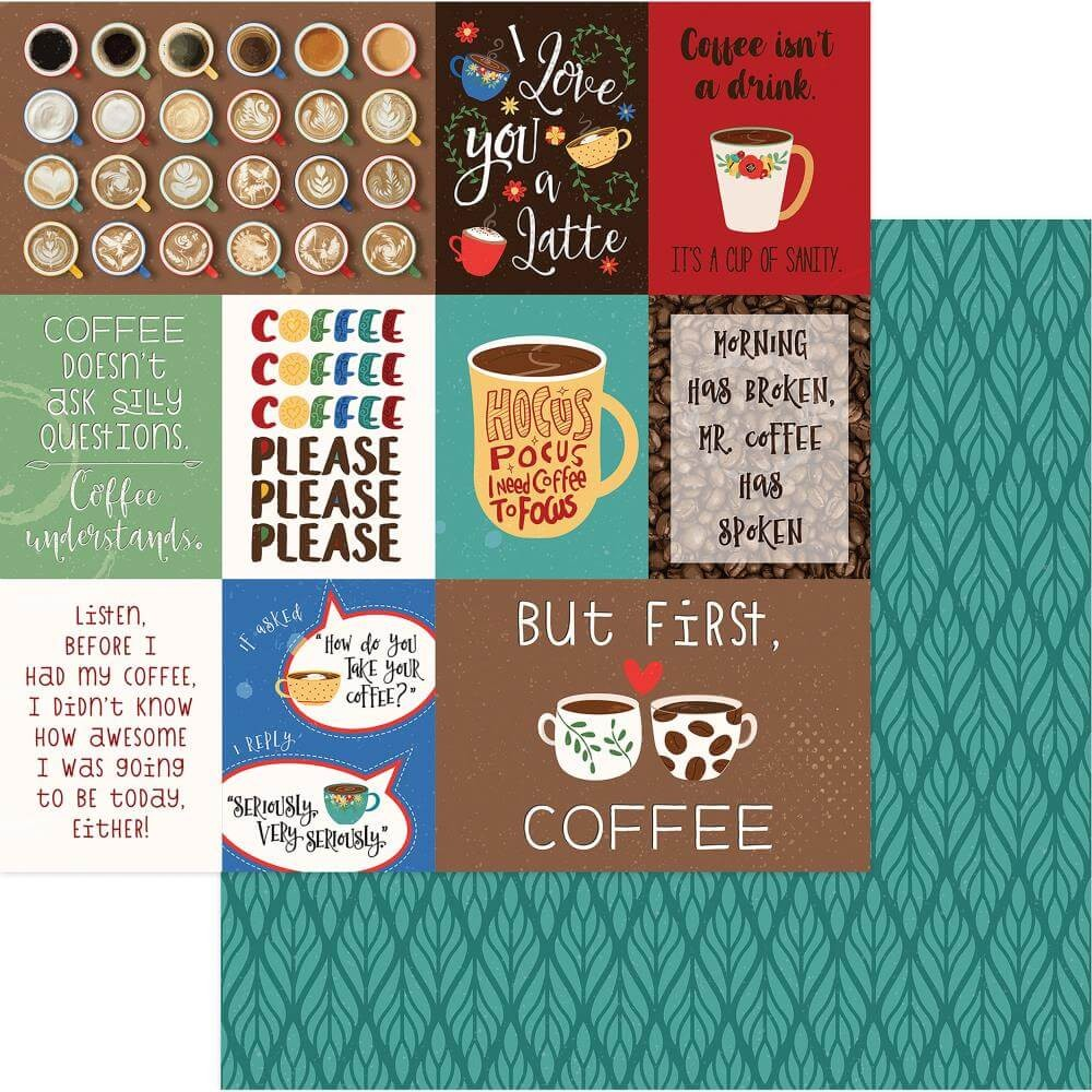 Papel Estampado Doble Cara 12x12 Daily Grind But First... Coffee