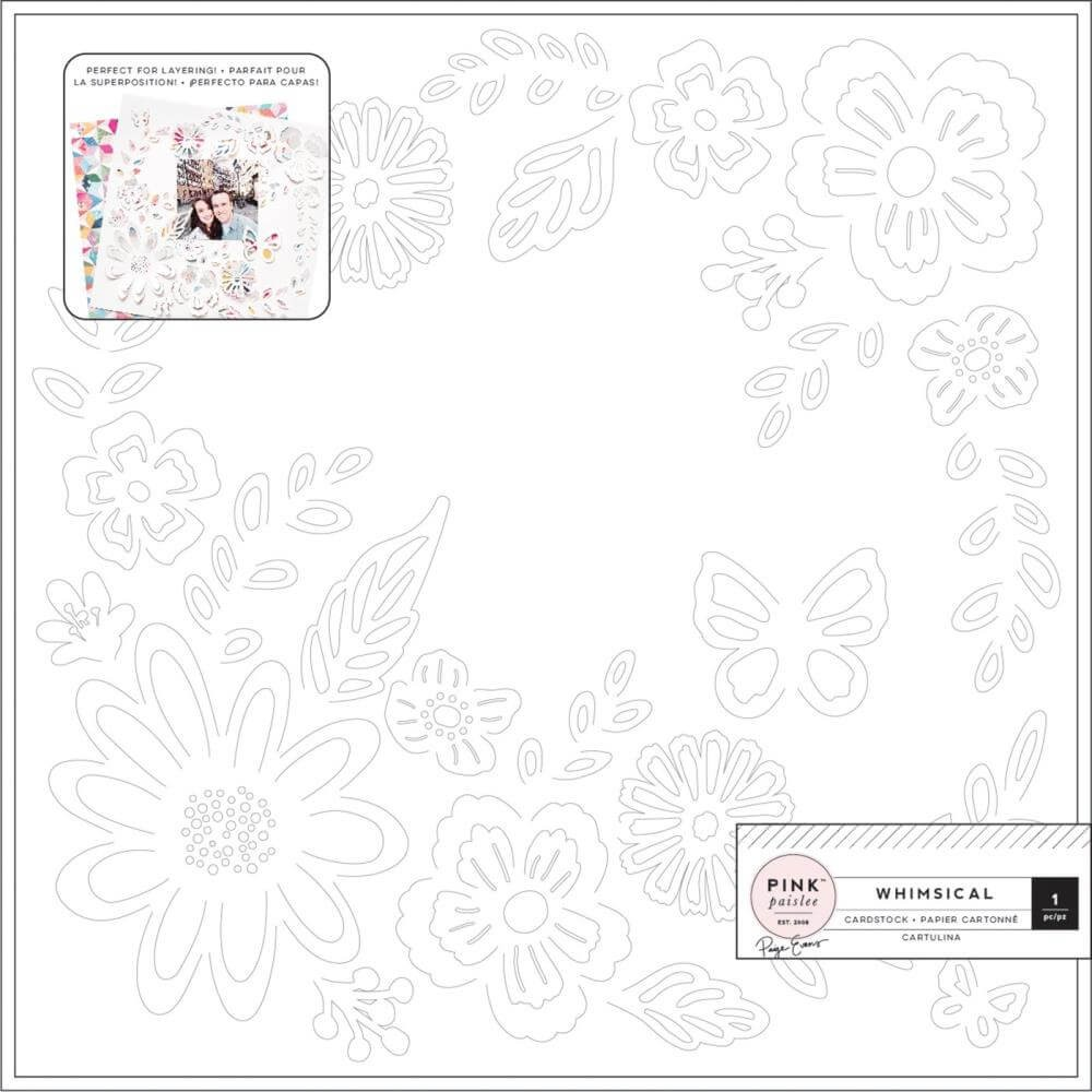 Papel Estampado Una Cara 12x12 Whimsical Die Cut Bend Up