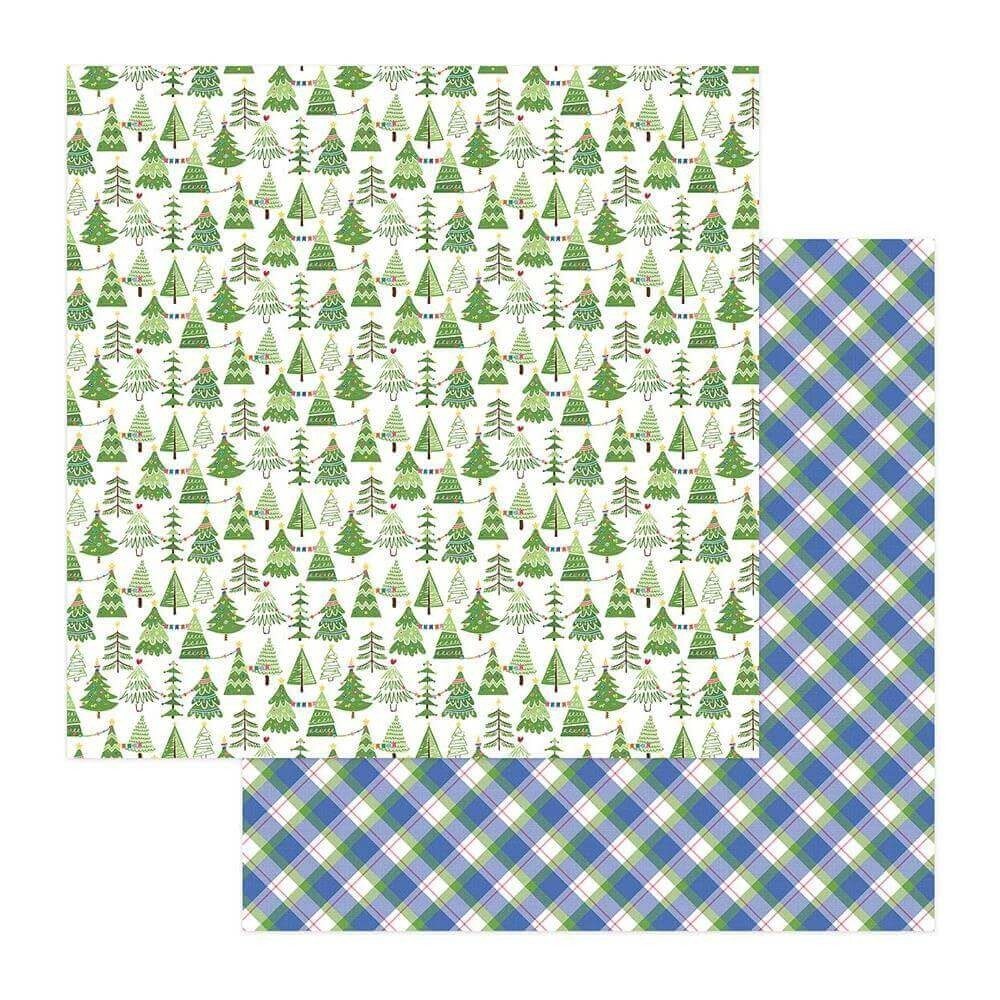 Papel Estampado Doble Cara 12x12 Frosty Friends Tree Farm