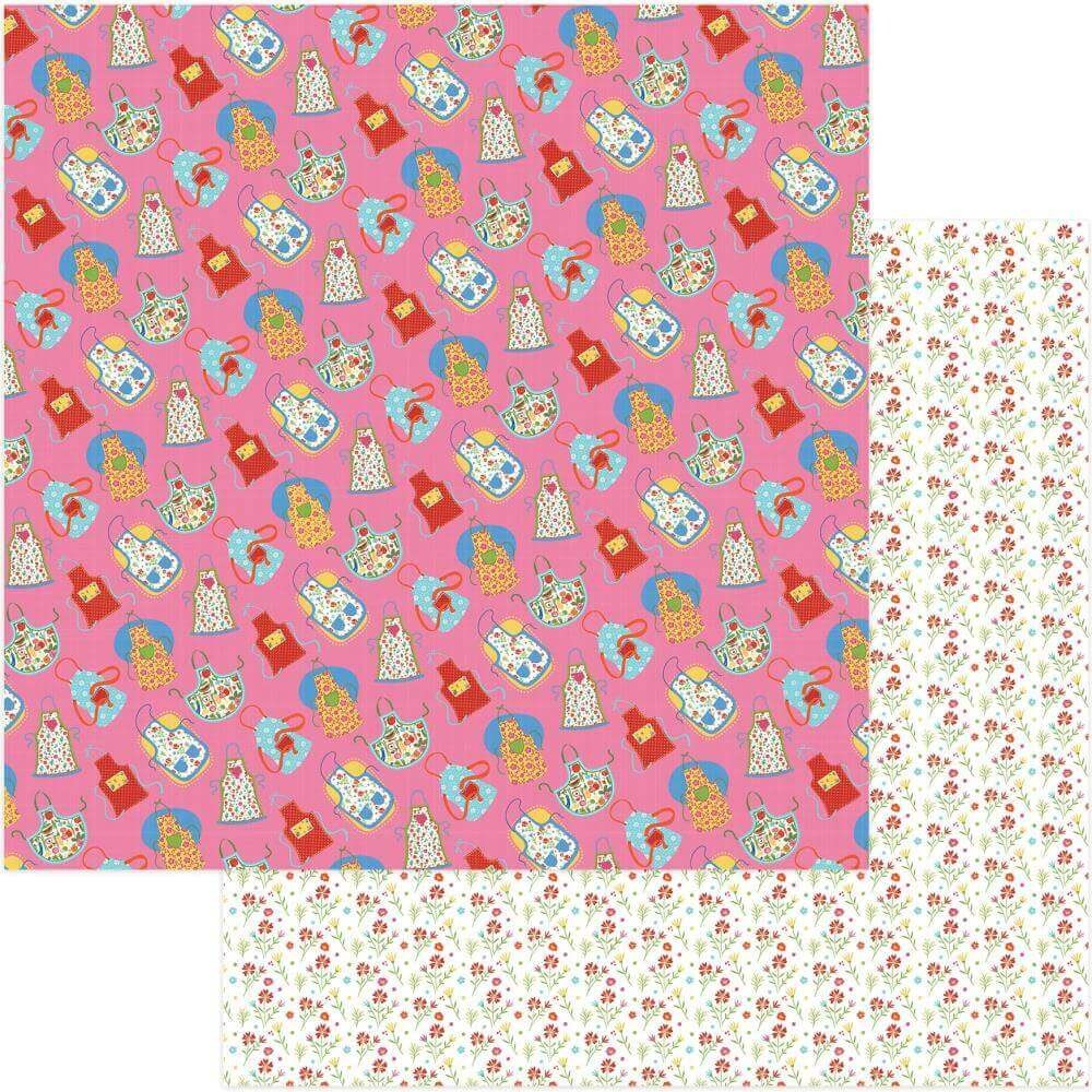 Papel Estampado Doble Cara 12x12 What's Cooking Apron Strings