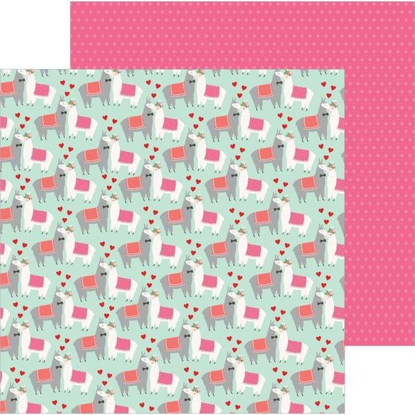 Papel Estampado Doble Cara 12x12 Loves Me Llama Love
