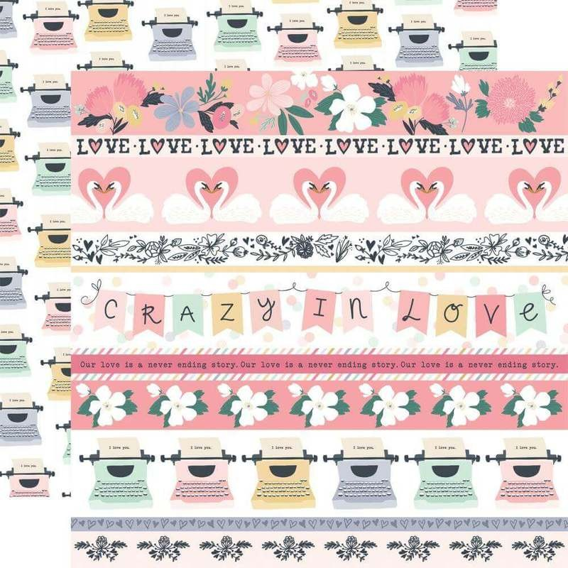 Papel Estampado Doble Cara 12x12 You & Me Border Strips