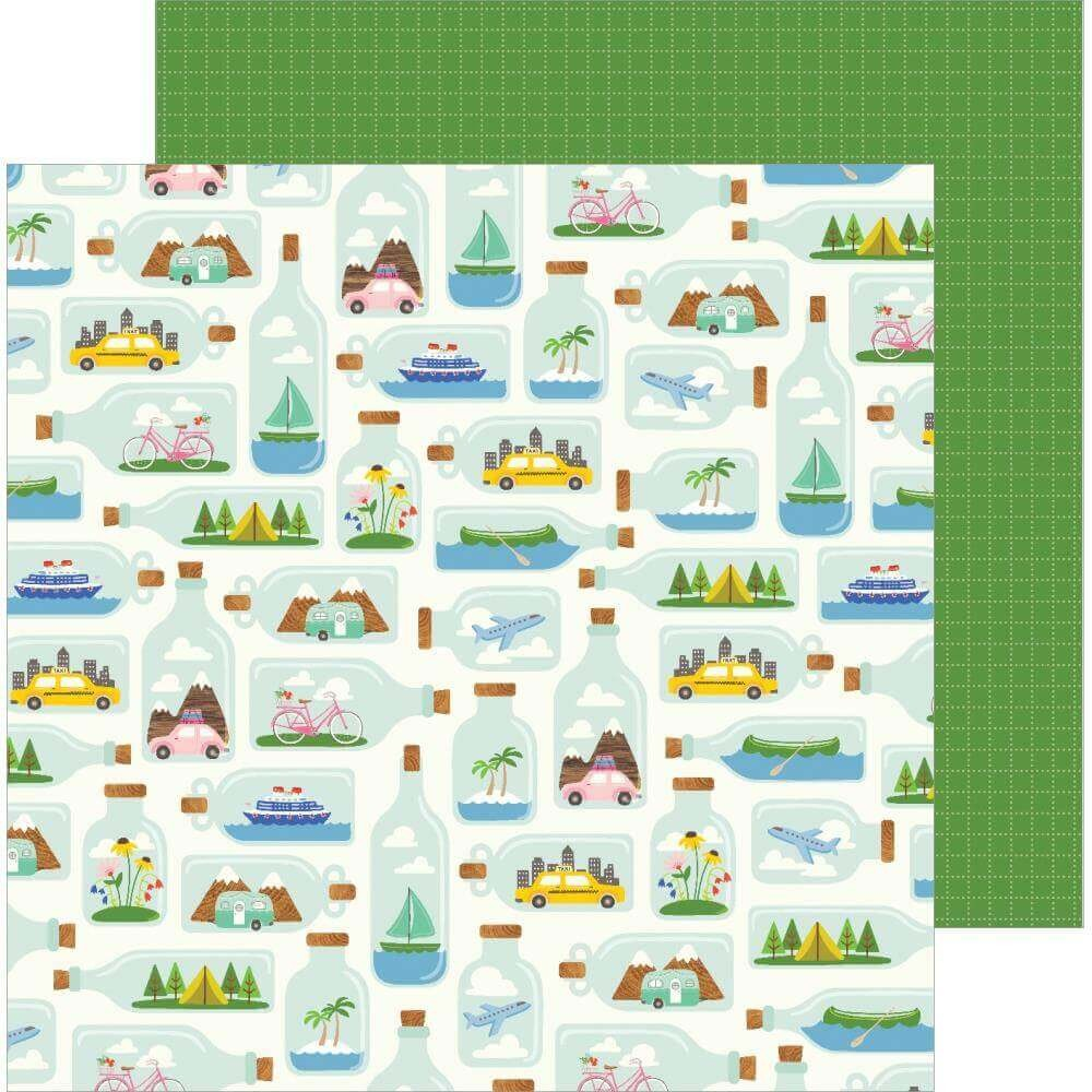 Papel Estampado Doble Cara 12x12 Chasing Adventures Tiny Travels