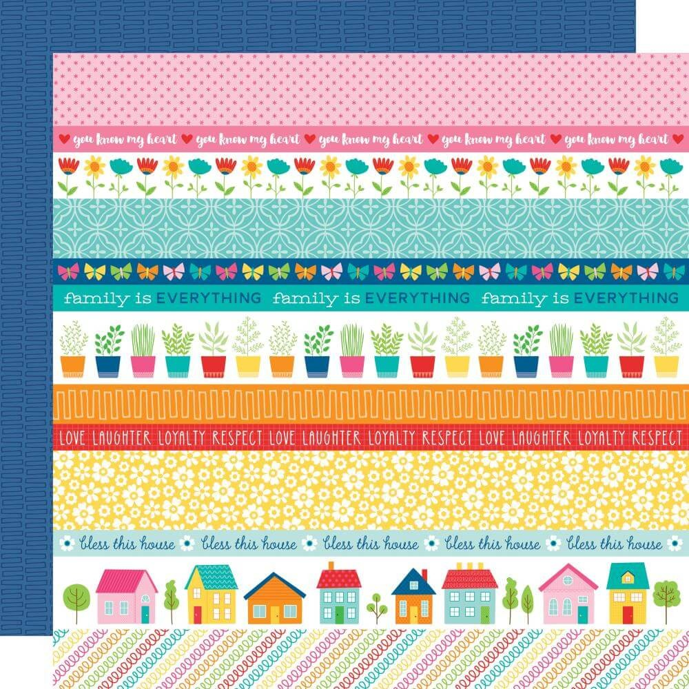 Papel Estampado Doble Cara 12x12 Home Sweet Home Borders
