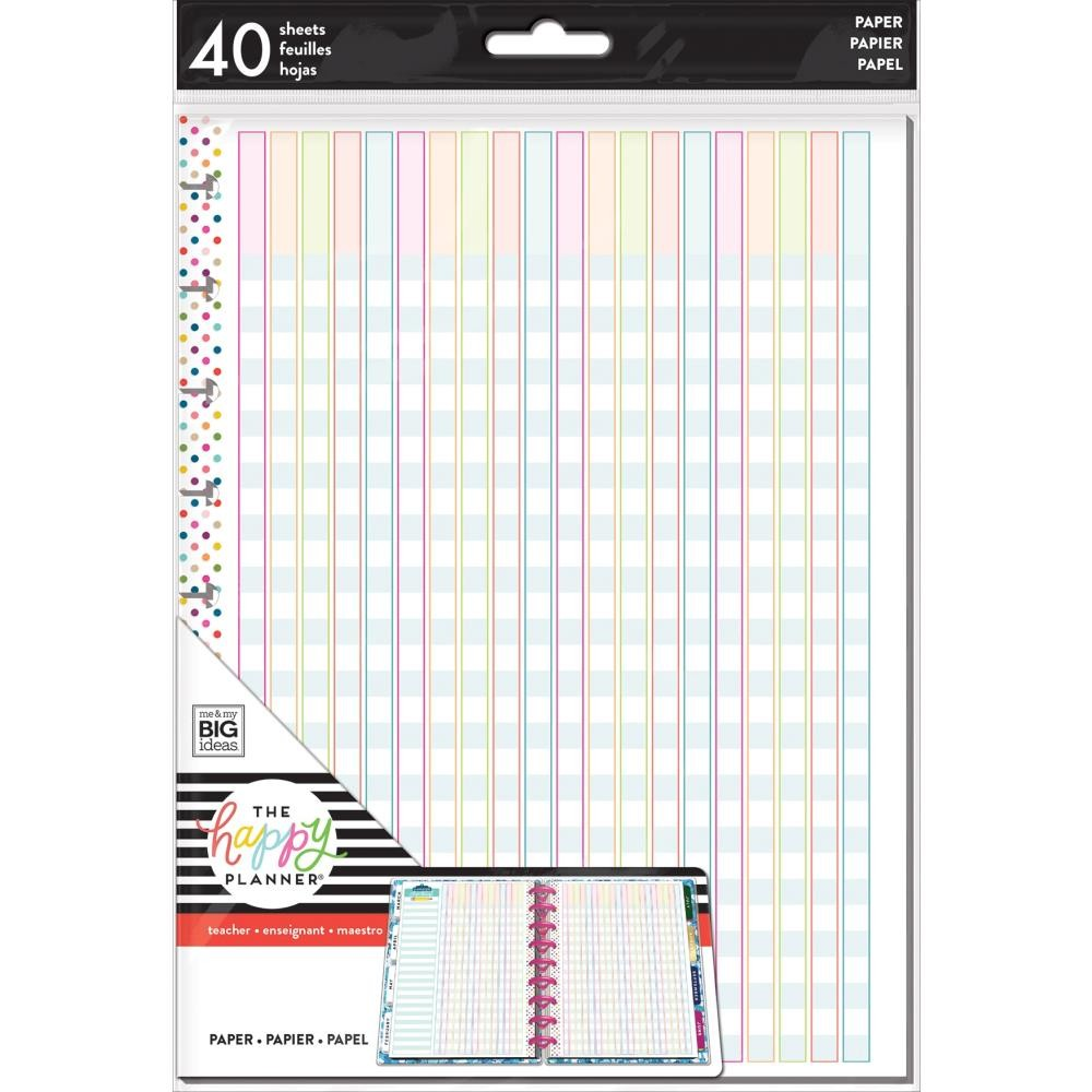 Inserto para Happy Planner Mediano Create 365 Full Sheet Checklist Profesor