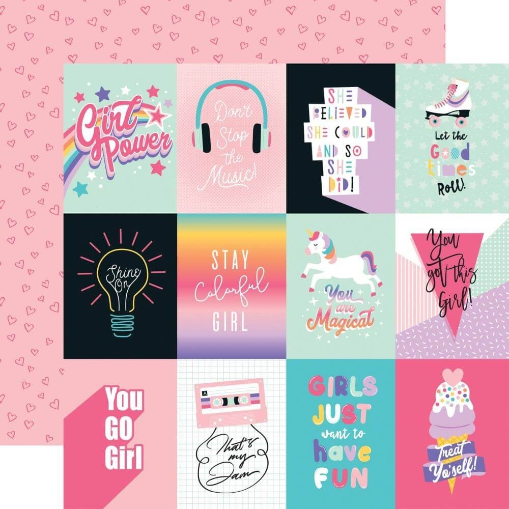 "Papel Estampado Doble Cara 12x12 Teen Spirit Girl 3""X4"" Journaling Cards"
