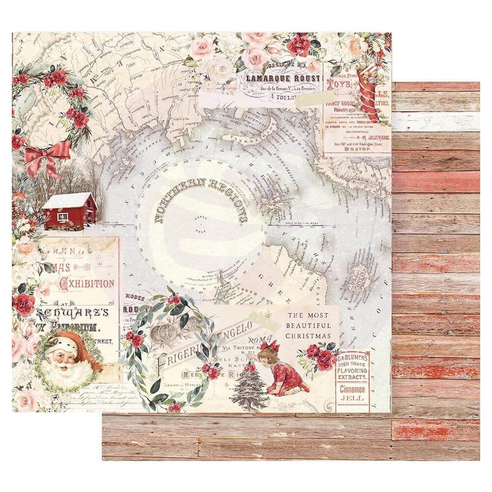 Papel Estampado Doble Cara 12x12 Christmas In The Country Northern Regions
