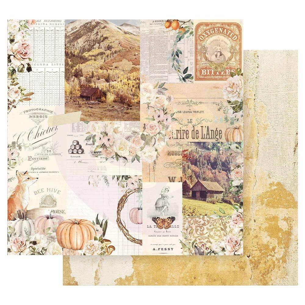 Papel Estampado Doble Cara 12x12 Autumn Sunset Autumn Morning