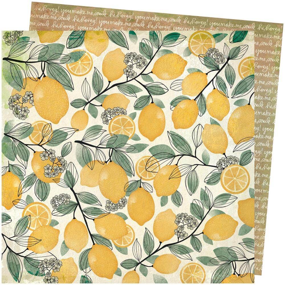 Papel Estampado Doble Cara 12x12 Wild Flower & Honey Vicki Boutin Lemon Spritz