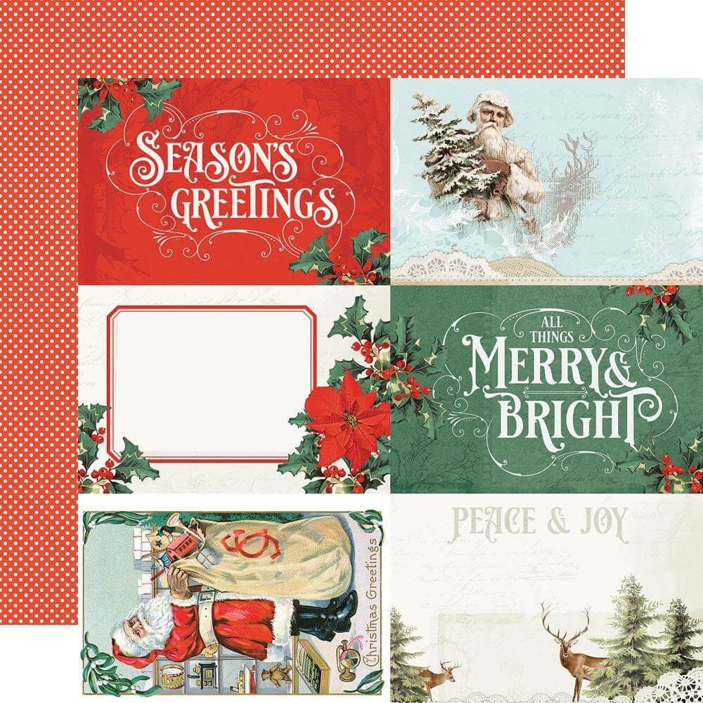 Papel Estampado Doble Cara 12x12 Country Christmas 4x6 Elements