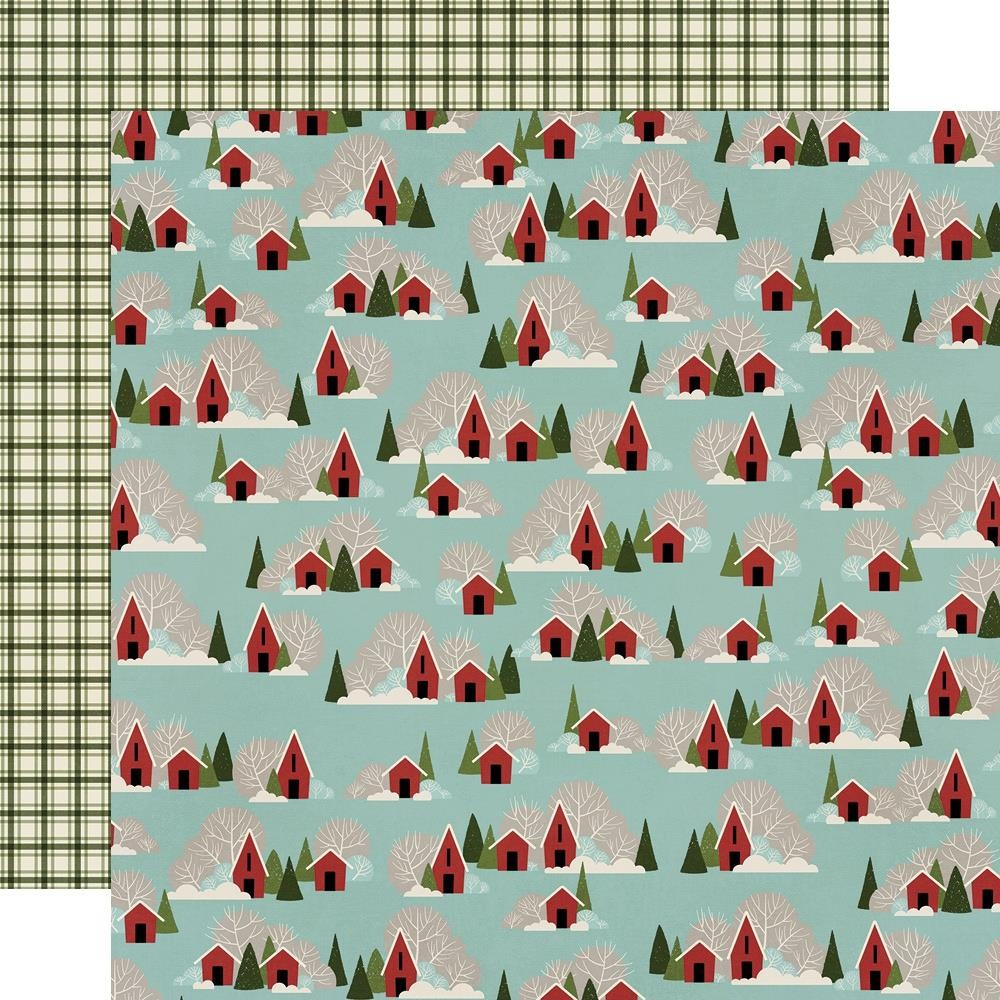 Papel Estampado Doble Cara 12x12 Winter Farmhouse Snowed In