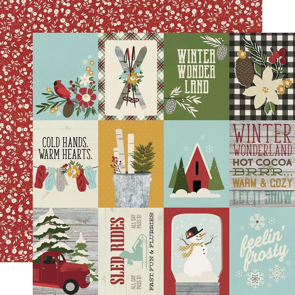"Papel Estampado Doble Cara 12x12 Winter Farmhouse 3""X4"" Elements"