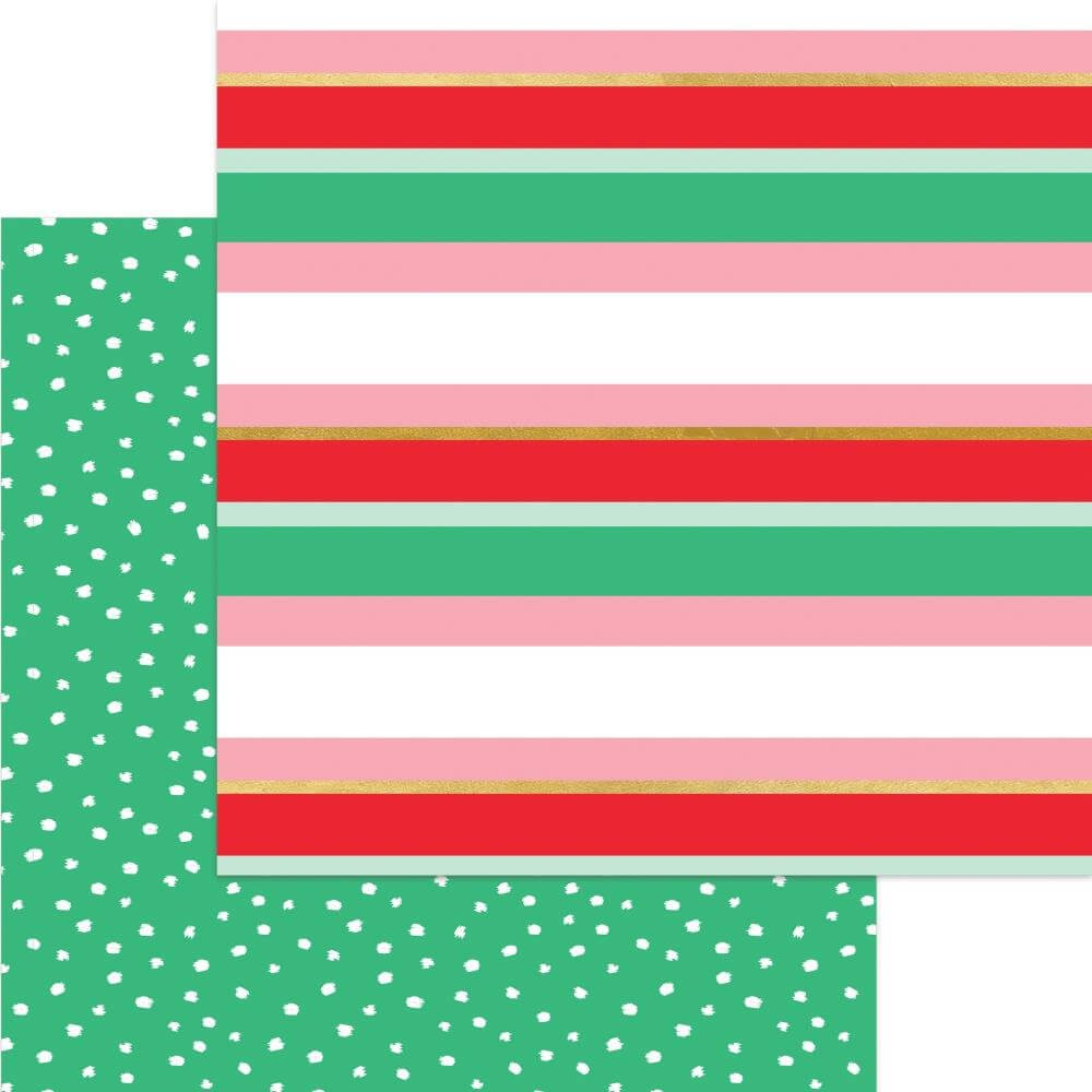 Papel Estampado Doble Cara 12x12 Holly Jolly Merry Stripe