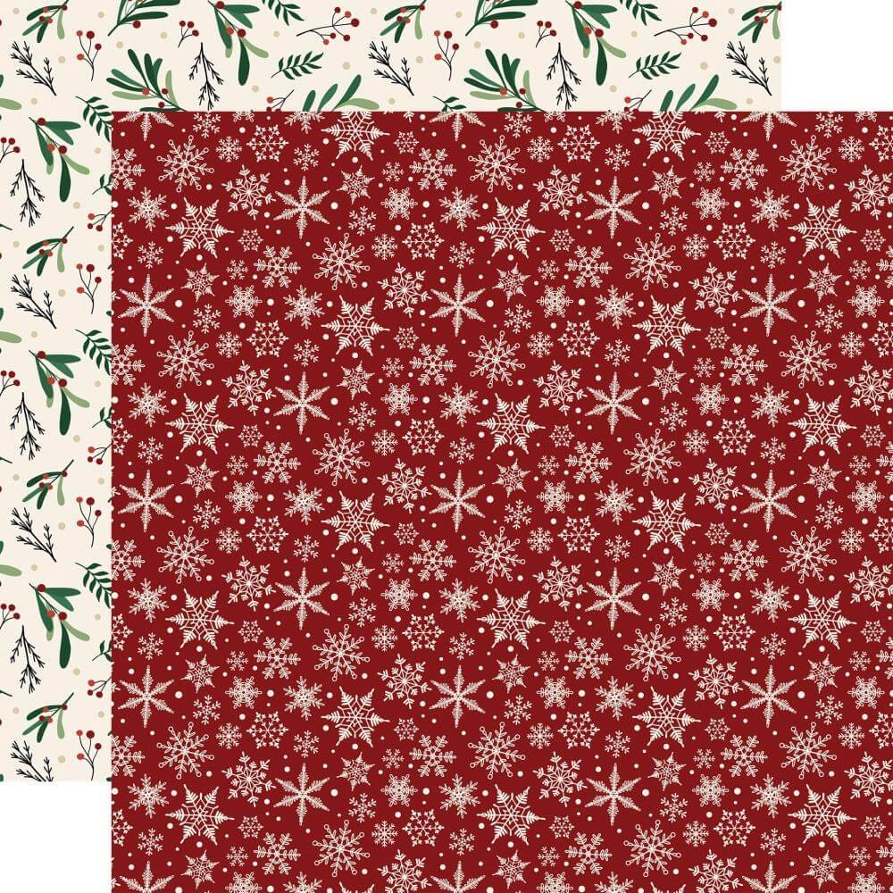 Papel Estampado Doble Cara 12x12 A Cozy Christmas Snowflakes
