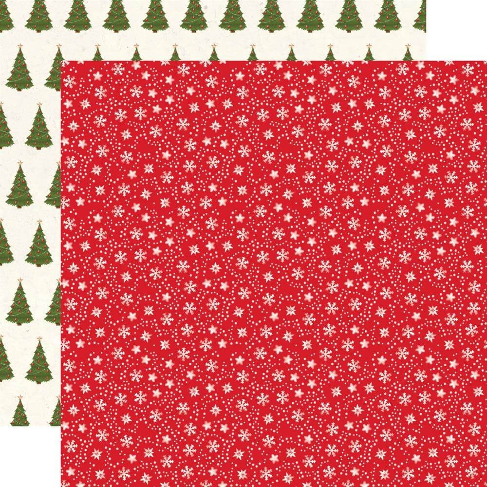 Papel Estampado Doble Cara 12x12 My Favorite Christmas Snow Flurries