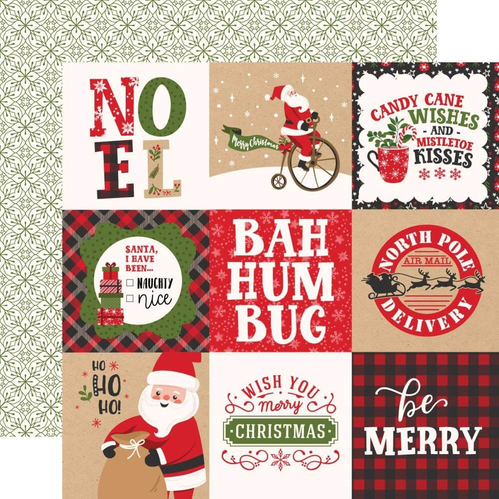 Papel Estampado Doble Cara 12x12 My Favorite Christmas 4x4 Journaling Cards