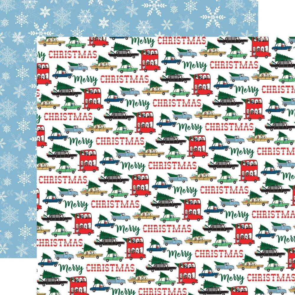 Papel Estampado Doble Cara 12x12 Merry Christmas Tree Shopping