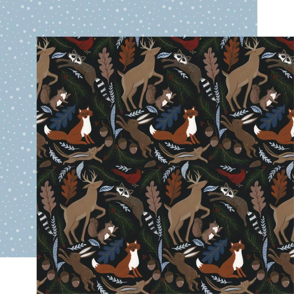 Papel Estampado Doble Cara 12x12 Warm & Cozy Cozy Animals