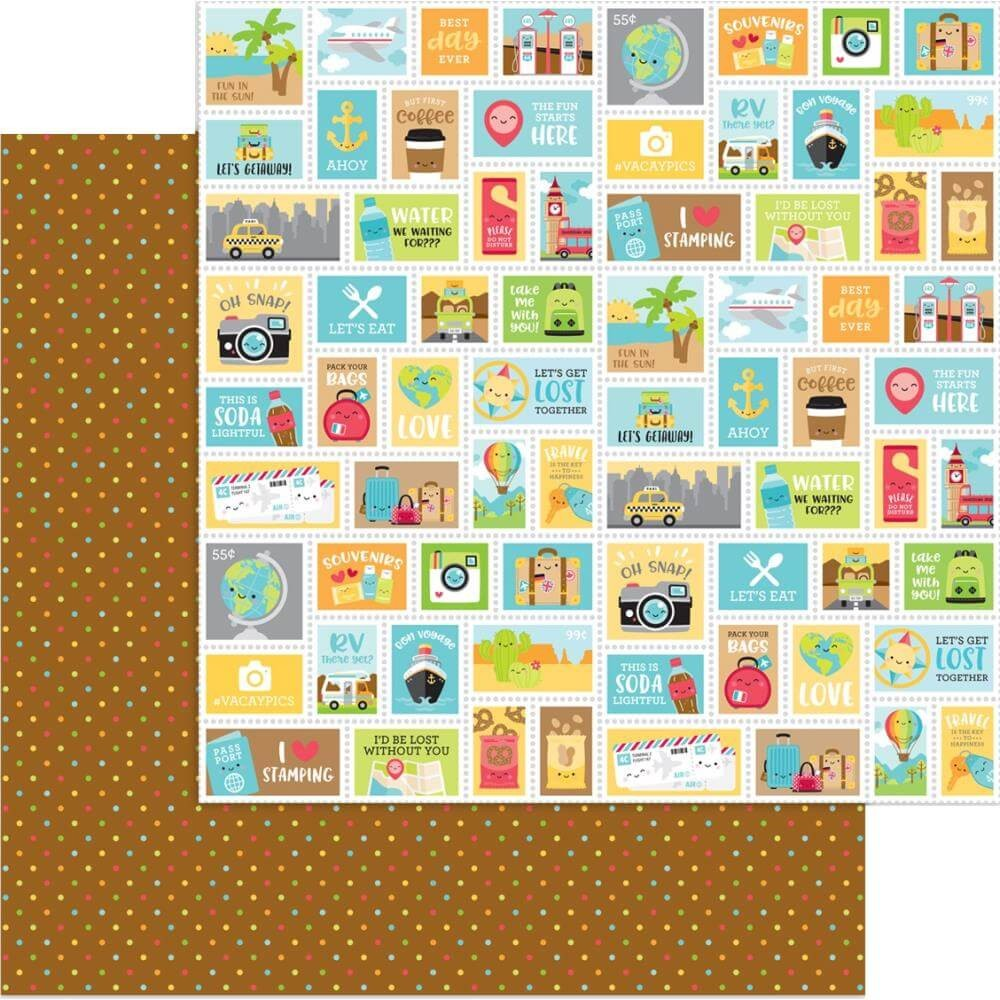 Papel Estampado Doble Cara 12x12 I Heart Travel Scenic Spot