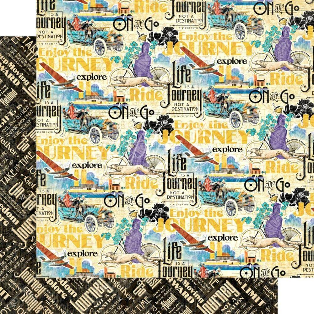 Papel Estampado Doble Cara 12x12 Life's a Journey Find Adventure