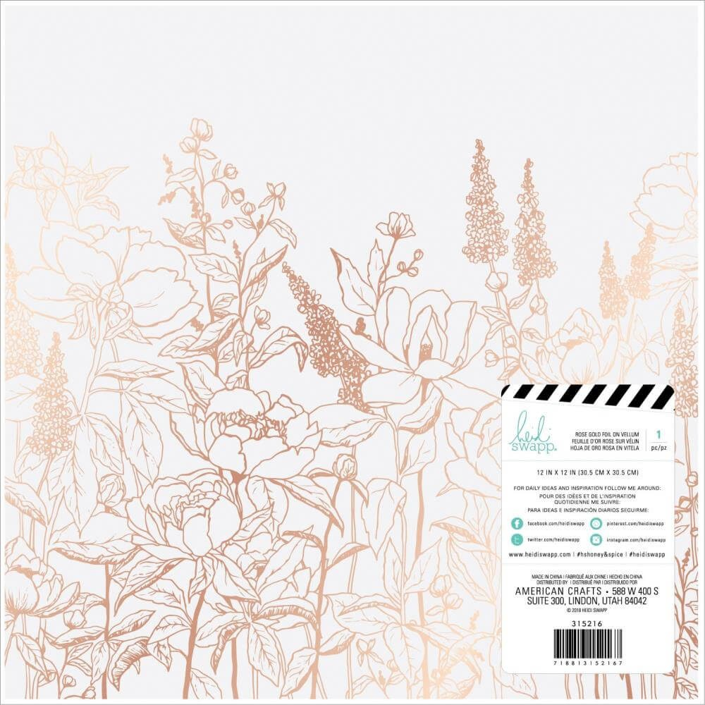 Papel Vellum 12x12 Honey & Spice Rose Gold Foil