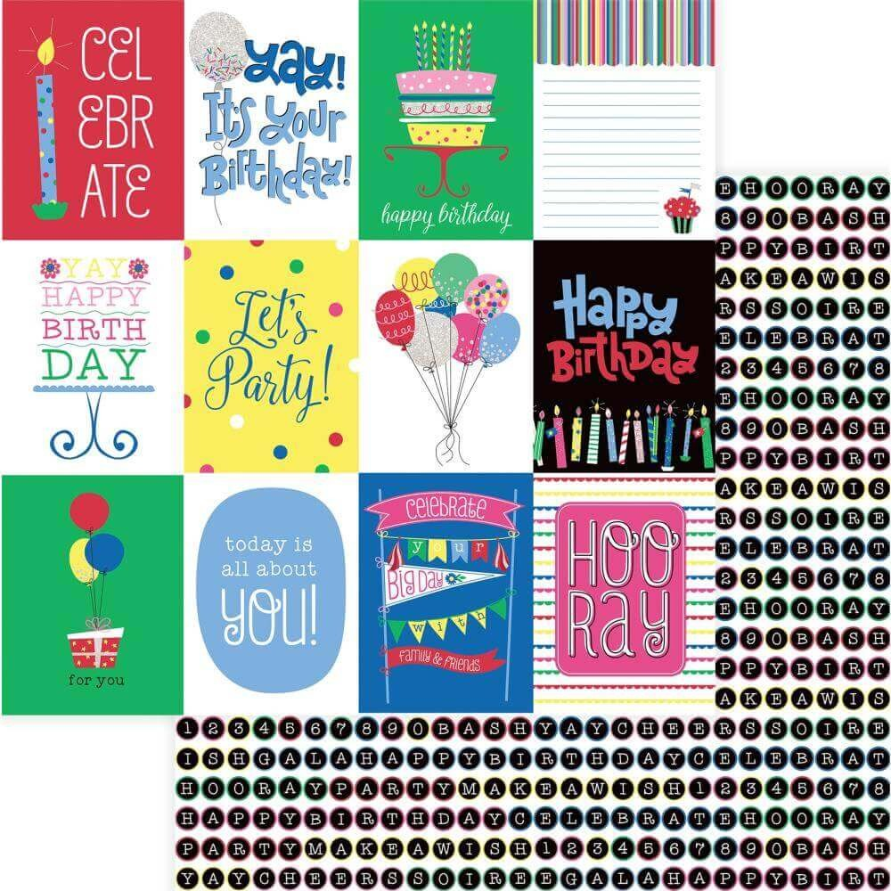Papel Estampado Doble Cara 12x12 Confetti Celebrate