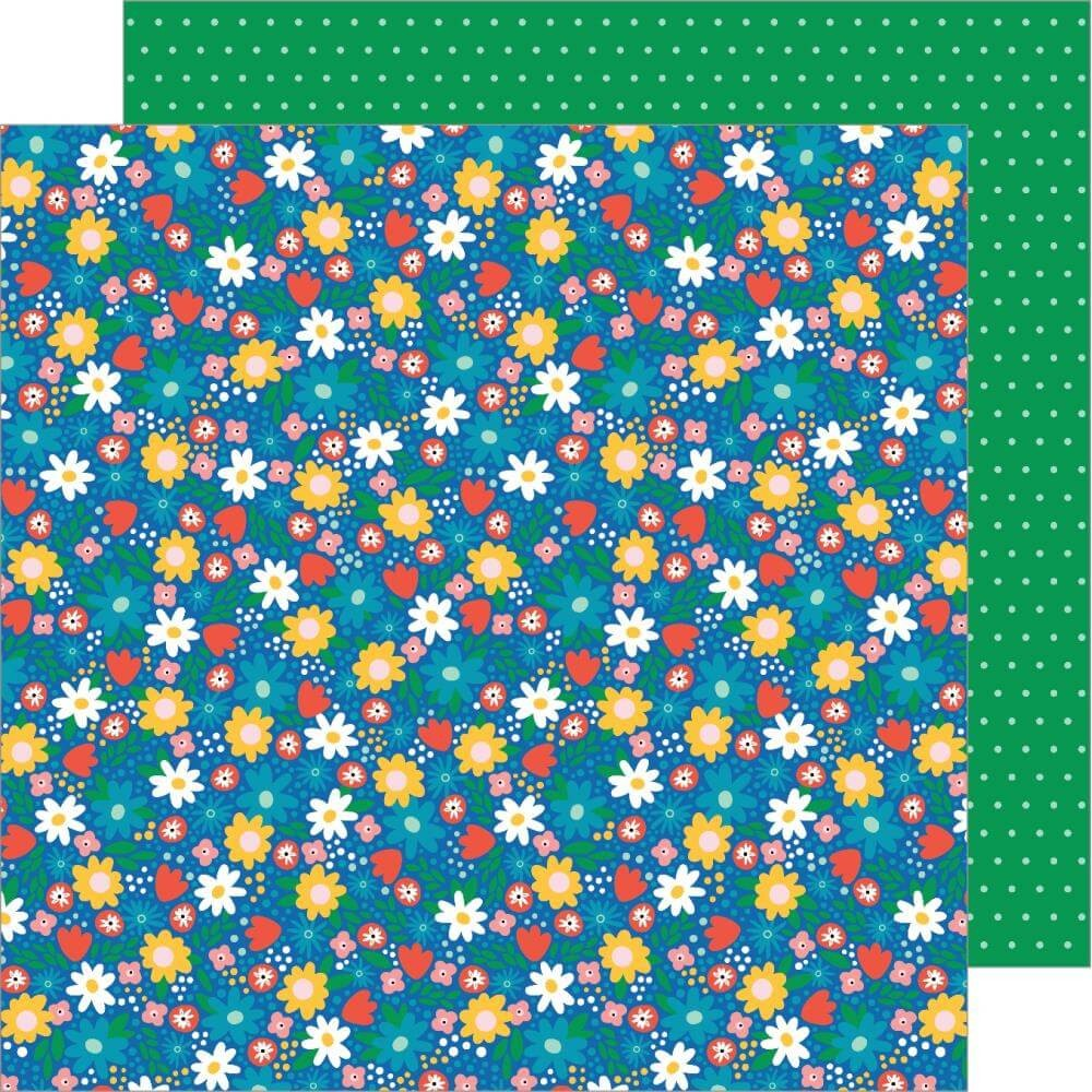 Papel Estampado Doble Cara 12x12 Happy Cake Day Birthday Blossoms