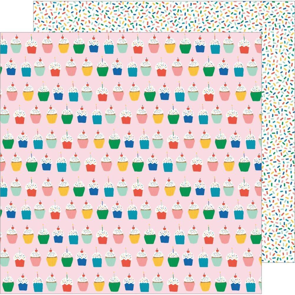 Papel Estampado Doble Cara 12x12 Happy Cake Day Hey Cupcake