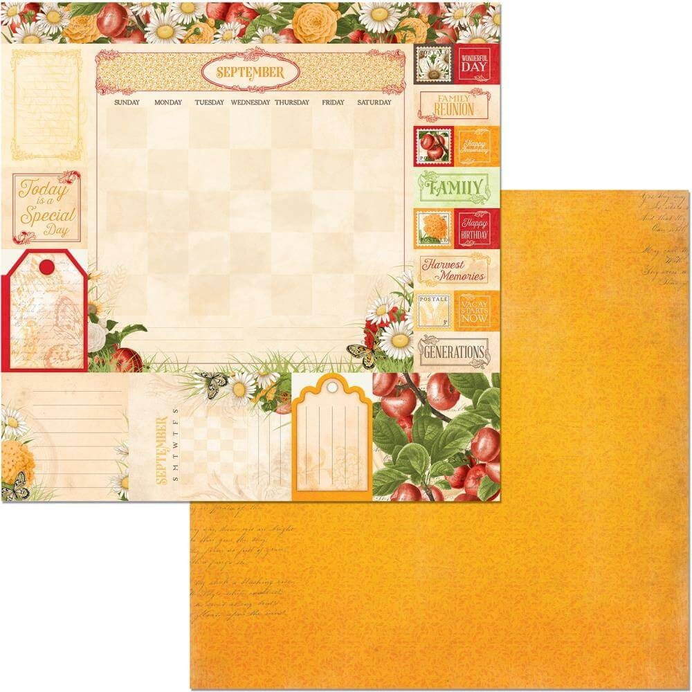 Papel Estampado Doble Cara 12x12 Time & Place September