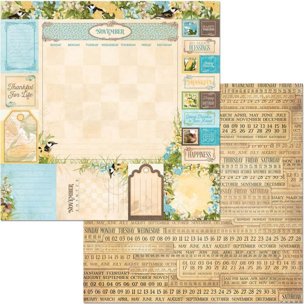 Papel Estampado Doble Cara 12x12 Time & Place November