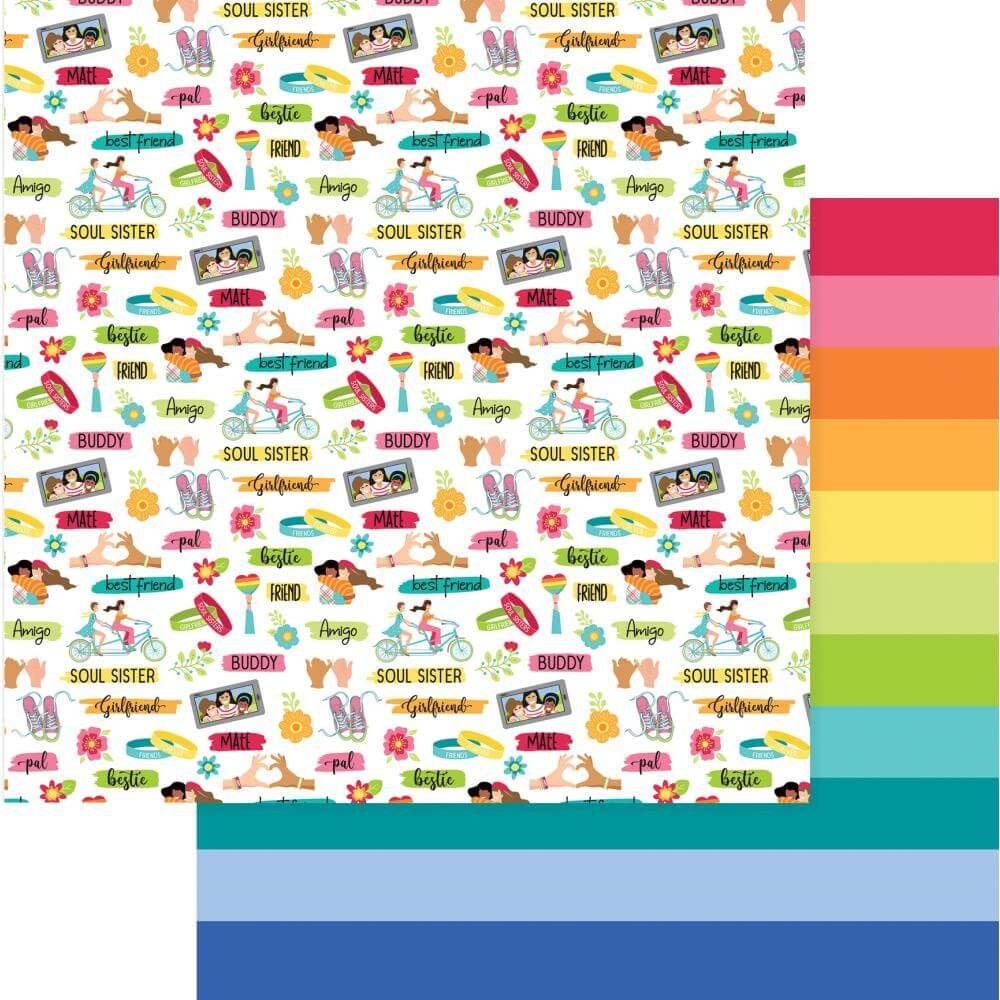 Papel Estampado Doble Cara 12x12 Best Friends Friendship