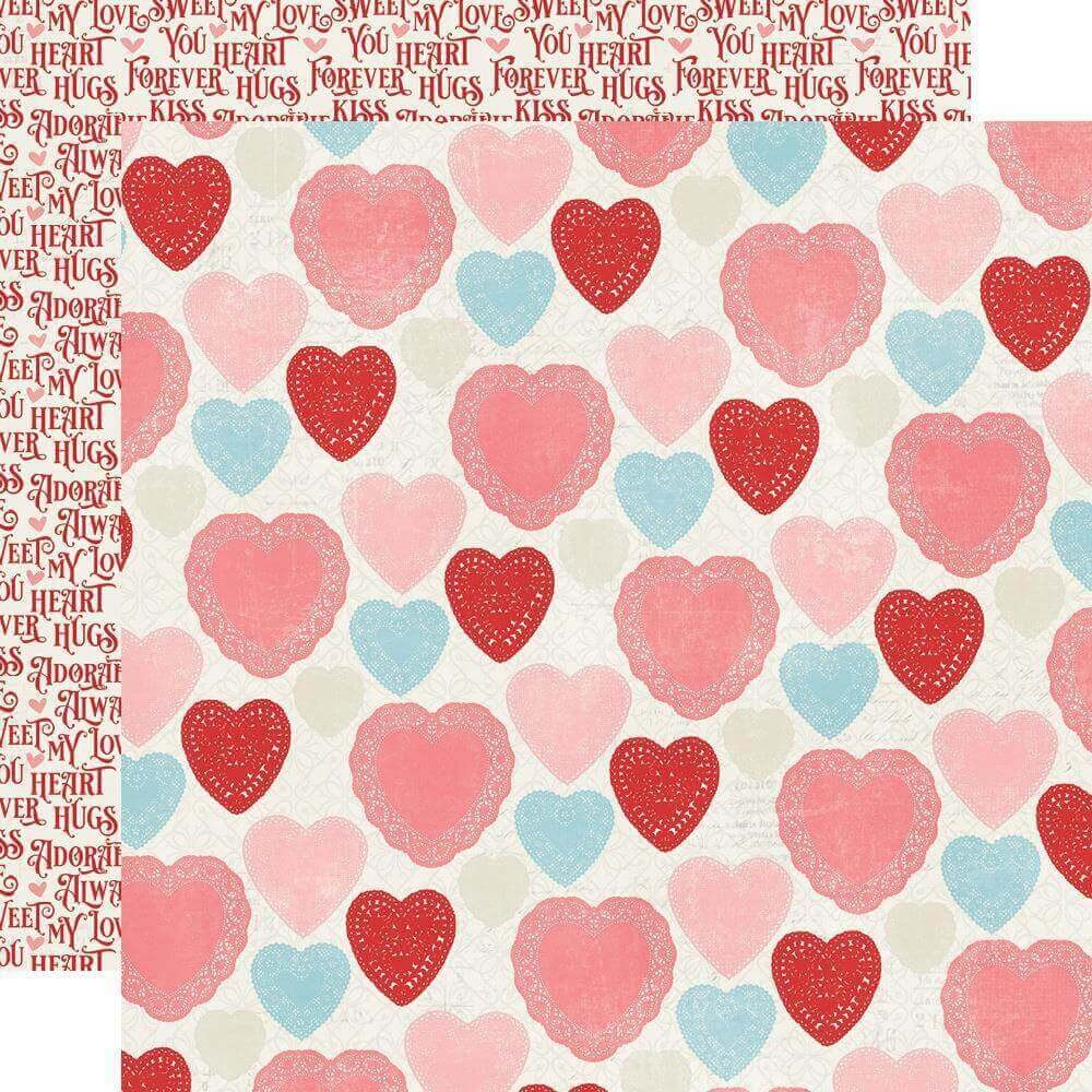 Papel Estampado Doble Cara 12x12 Simple Vintage My Valentine Heart Yo Heart