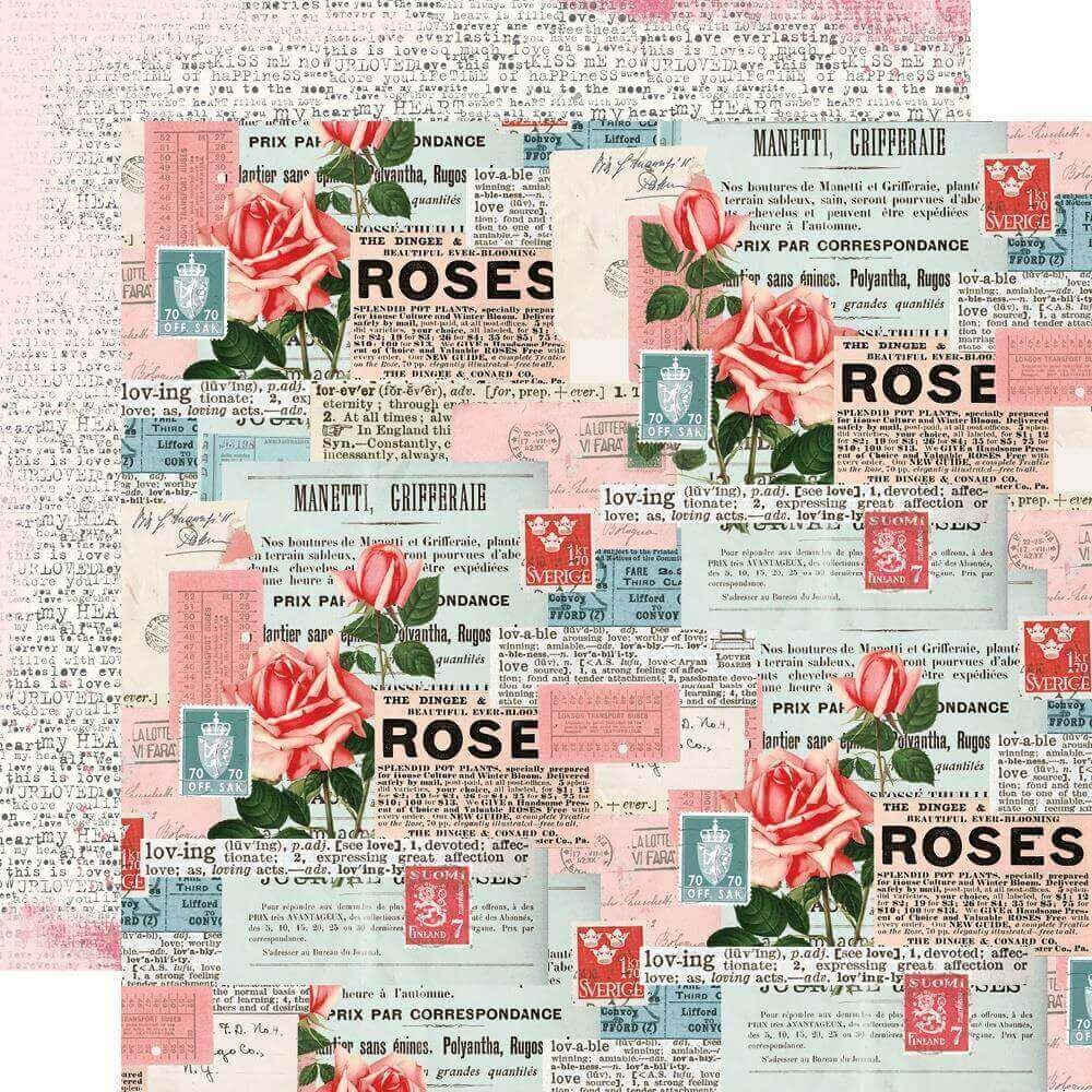 Papel Estampado Doble Cara 12x12 Simple Vintage My Valentine Be Mine